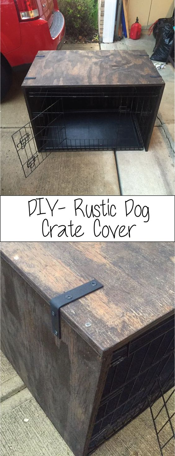 DIY Rustic dog crate cover- made with plywood- $24 #pet #rusticdiy