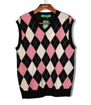 Argyle Sweater Vest Pink