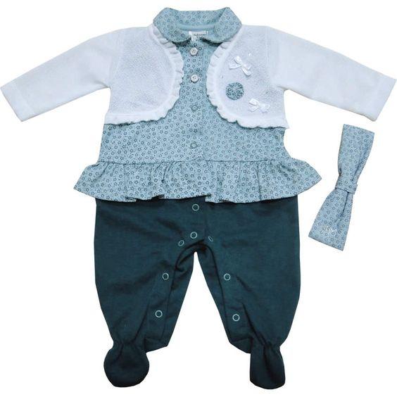 Macacão Longo de Bebê Menina com Faixa de Cabelo Azul - Sonho Mágico :: 764 Kids   Roupa bebê e infantil
