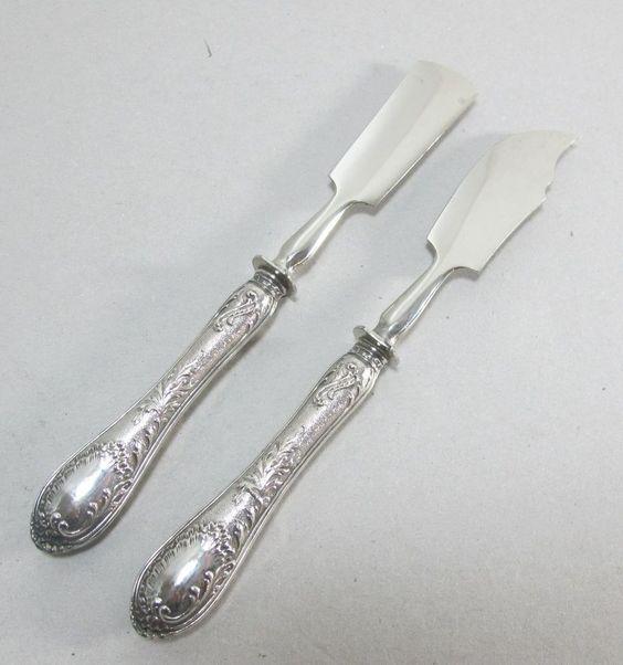 Käsemesser + Butterspatel 800 Silber Jugendstil Buttermesser traumhaft verziert