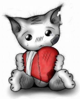 chaton triste au coeur brisé