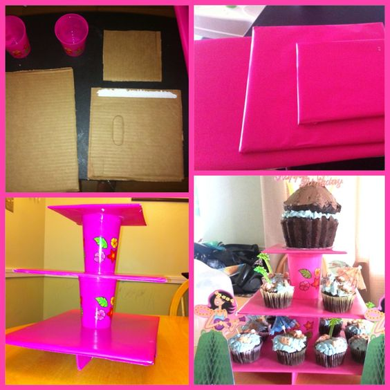 Cupcake stand made from two cups & diaper box