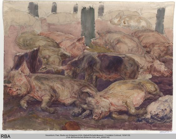 Paul Neuenborn, study of pigs, early 19th century. Wallraf-Richartz-Museum & Fondation Corboud