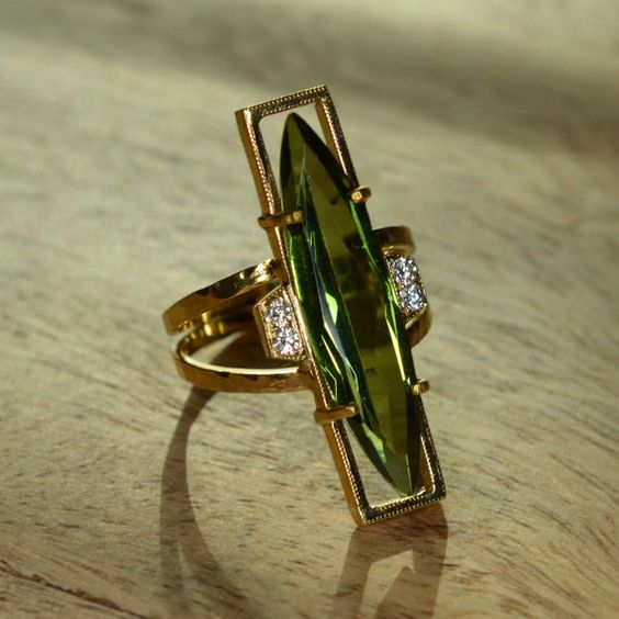 Marquise Peridot and Diamond Ring 18k and 24k Yellow Gold by JdotC