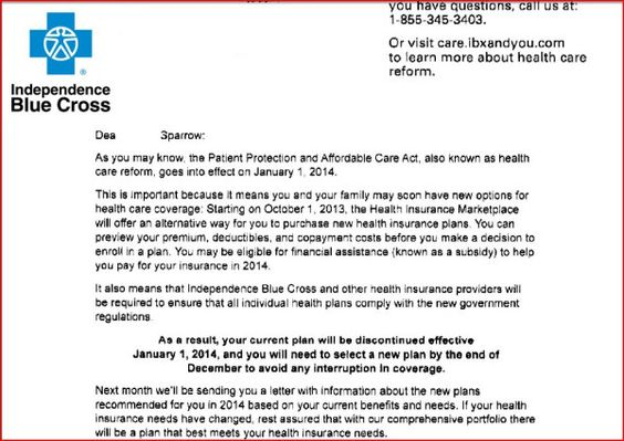 Termination Letter From Ibx Independence Blue Cross No