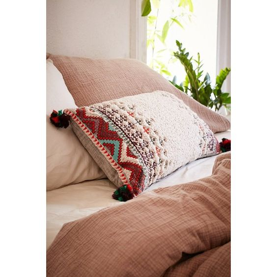 Naya Sherpa Embroidered Bolster Pillow ($59) ❤ liked on Polyvore featuring home, home decor, throw pillows, embroidered throw pillows and urban outfitters