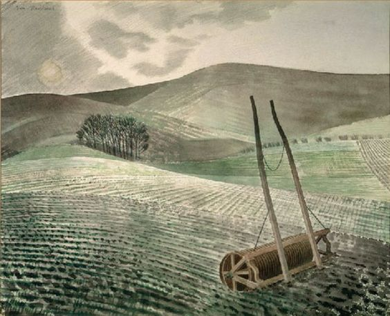 'Downs in Winter', by Eric Ravilious, 1934. Eric Ravilious was born in Eastbourne and is the great draughtsman of the Downs. His tutor was the painter Paul Nash who was also interested in chalk landscapes. The whiteness of the landscape and the chalk hill figures were a particular inspiration