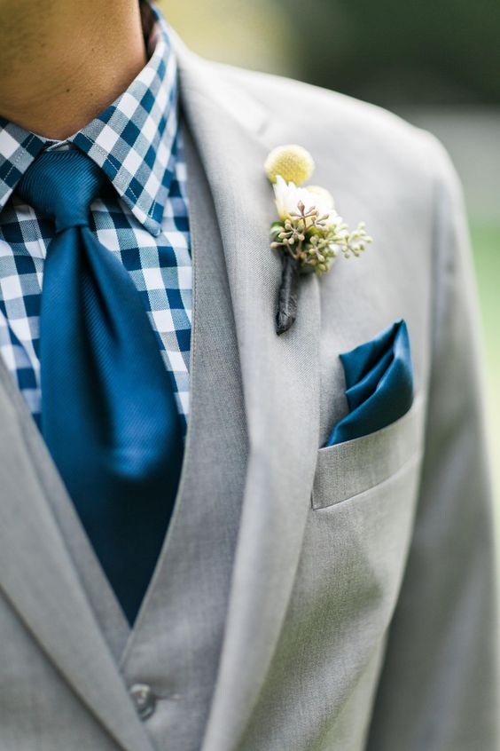 Groom attire, cobalt blue, checked shirt, gray suit, summery style // Cory & Jackie Wedding Photographers