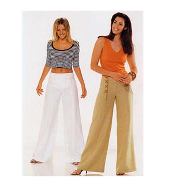 WOMENS SAILOR PANTS Pattern High Waist Pants Trousers Front Bib ...