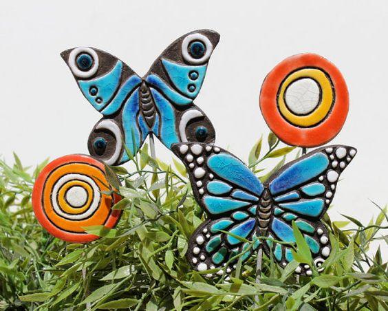 Butterfly Garden Art Plant Stake Garden Decor By GVEGA On Etsy | Art  Lessons | Pinterest | Garden Art, Butterfly And Plants