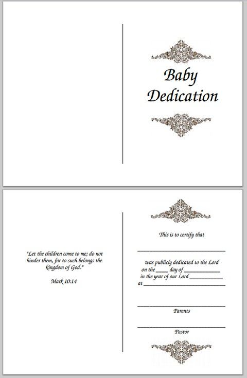 Baby Dedication Certificate  Certificates    Baby