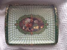 Vtg Daher Decorated Ware Small Metal Tray-Fruit And Flowers-Vanity-England