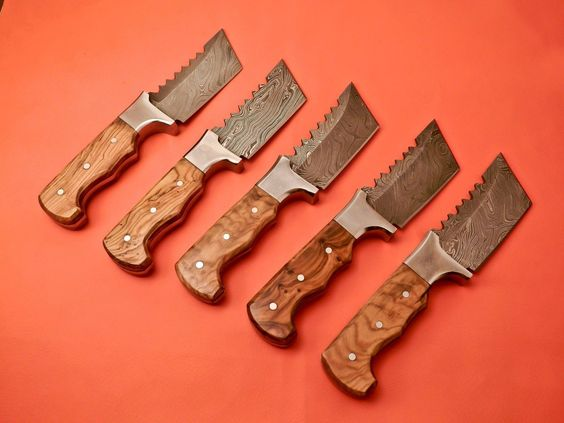 Hand Made Beautiful Damascus Hunting  knives set of 6 Knives with Natural Handles And File Work On Blade