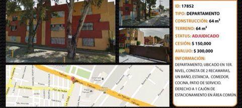 Departamento en VENTA ubicado en Tlahuac. -2recamaras -1baño -estancia -cocina -comedor -1cajon de estacionamiento