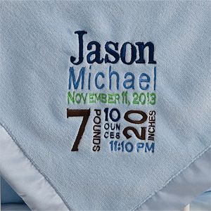 Personalized Blue Baby Blankets - Birth Announcement - Baby Gifts
