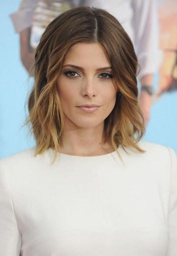 Ashley Greene with Beautiful Ombre Lob: 2015 Medium Hairstyles for Wavy Hair