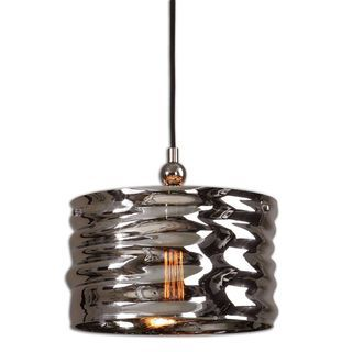 Aragon 1-light Nickel/ Art Glass Pendant