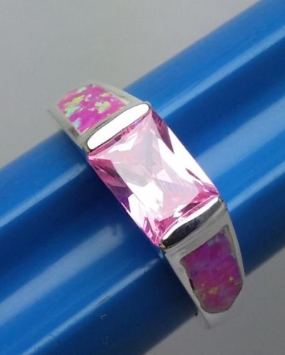 Lovely-Mexican-Fire-Opal-Pink-Stone-Silver-Ring-Size-8