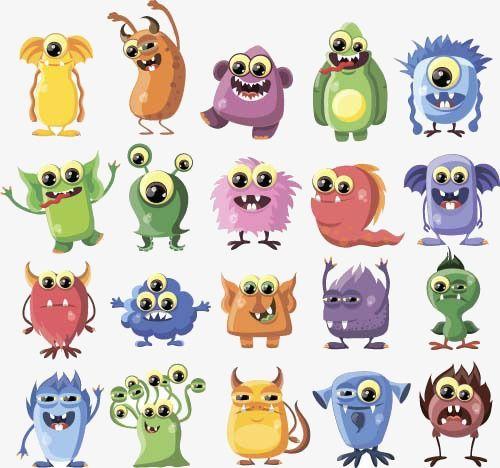 Funny Cute Cartoon Monster Character Vector Illustration Or Purple Cartoon Monsters Monster Characters Cute Cartoon
