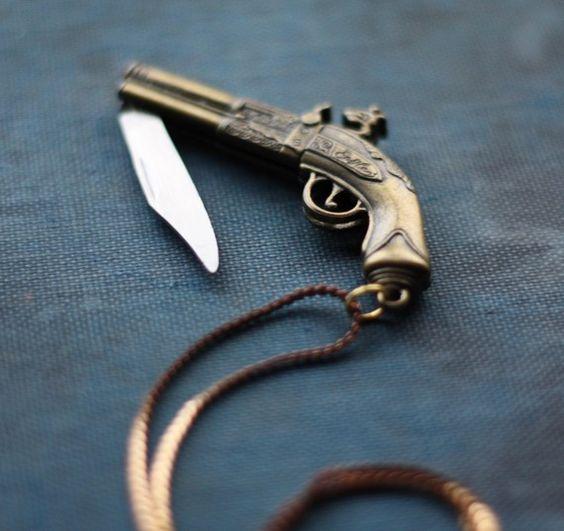 Brass Pistol Flintlock Gun Pocket Knife Necklace