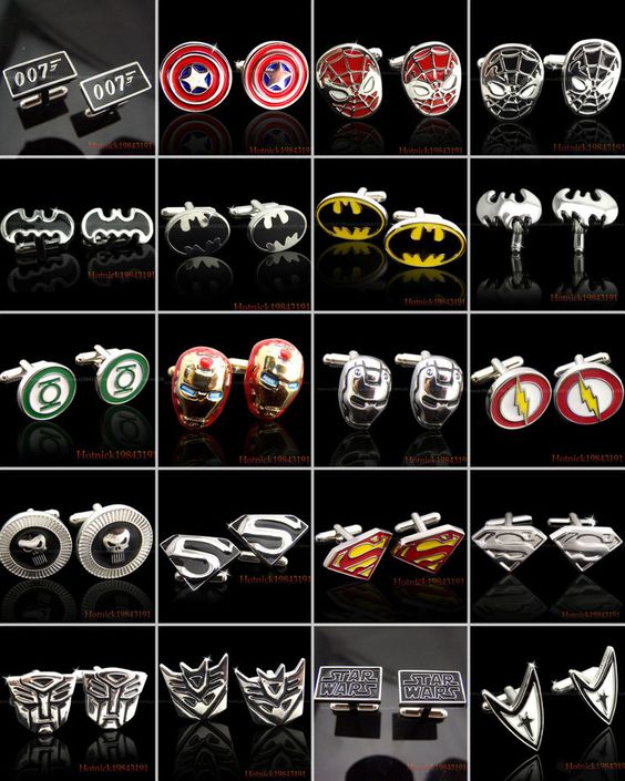 SUPER HERO CUFFLINKS MENS WEDDING NOVELTY SUPERHERO CUFF LINKS New In Stock They have Superman..RIP Loy.