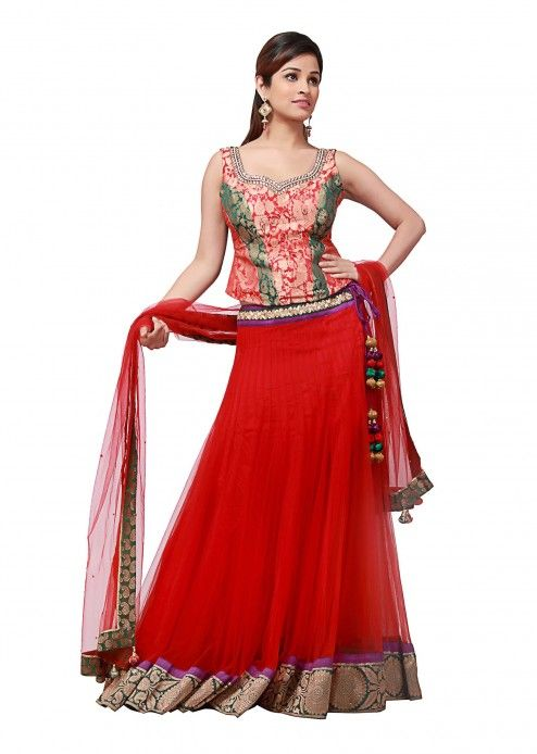 Red lehenga with border work by B91 Exclusive