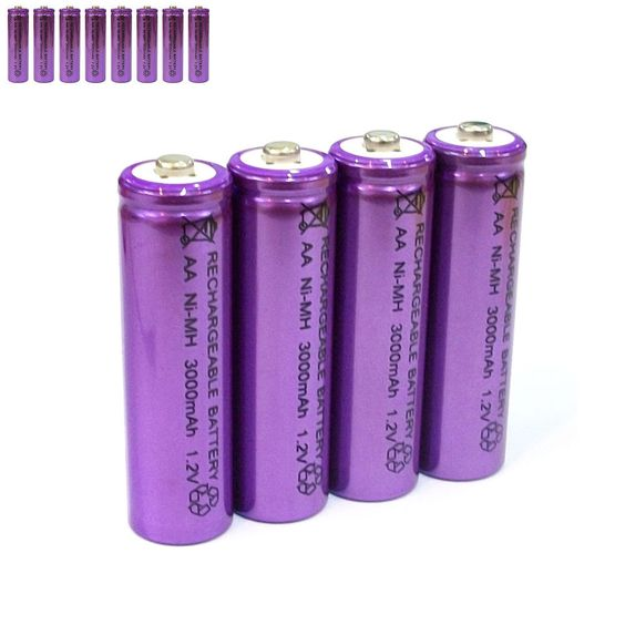 8 pcs AA LR06 3000mAh 1.2V NI-MH rechargeable battery CELL/RC MP3 SILVER PURPLE