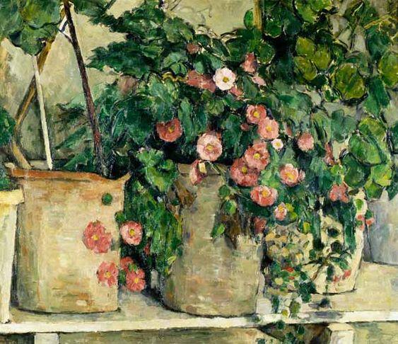 Titre de l'image : Paul Cézanne - nature morte avec des pétunias