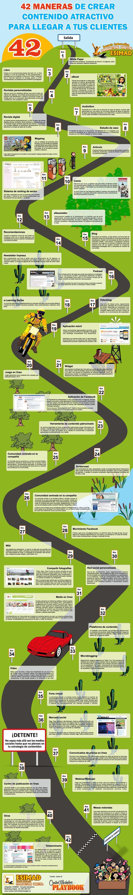 42 tipos de contenido para no cansar al lector de tu blog #infografia #communityManager