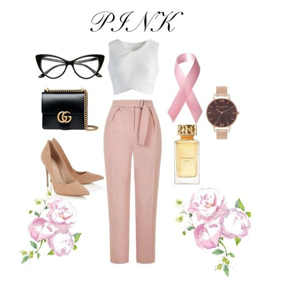 """I only wear pink"" by lanestephanie on Polyvore featuring Topshop, Chicwish, Lipsy, Gucci, Olivia Burton and Tory Burch"