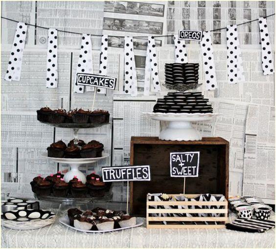 Para uma decoração mais descolada, com uma festa em preto e branco.: