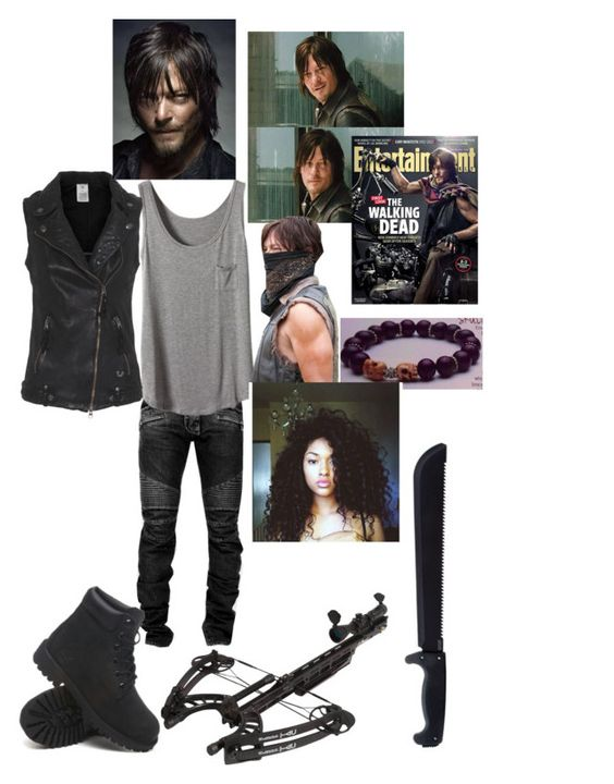 """on the hunt with daryl dixon ♡♡"" by dmstkgdss ❤ liked on Polyvore featuring Balmain, True Religion, Timberland and Monday"