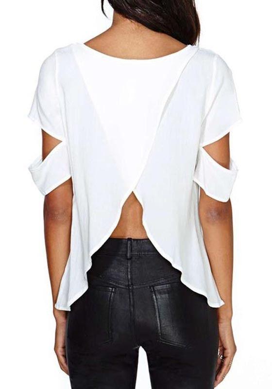 White Plain Irregular Short Sleeve Loose Blouse - Blouses - Tops
