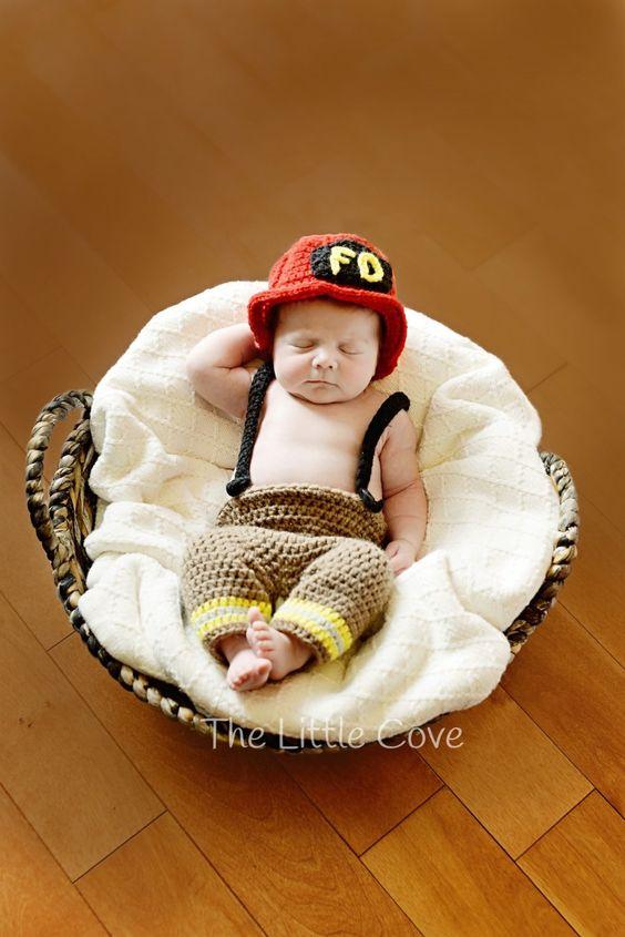 Crochet Fireman Set, Newborn Fireman Outfit, Fireman Hat, Baby Firefighter Outfit, Fireman Boots, Fireman Pants, Crocheted Booties by TheLittleCove on Etsy https://www.etsy.com/listing/213561519/crochet-fireman-set-newborn-fireman