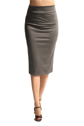 Women'S Ponte Roma From Office Wear to Casual Below Knee Pencil Skirt - Gray