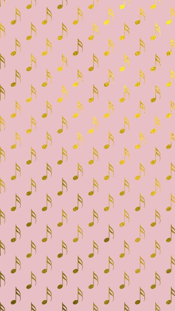 Gold Foil Pink Musical Notes Phone Wallpaper Iphone Wallpaper Music Music Notes Background Music Wallpaper