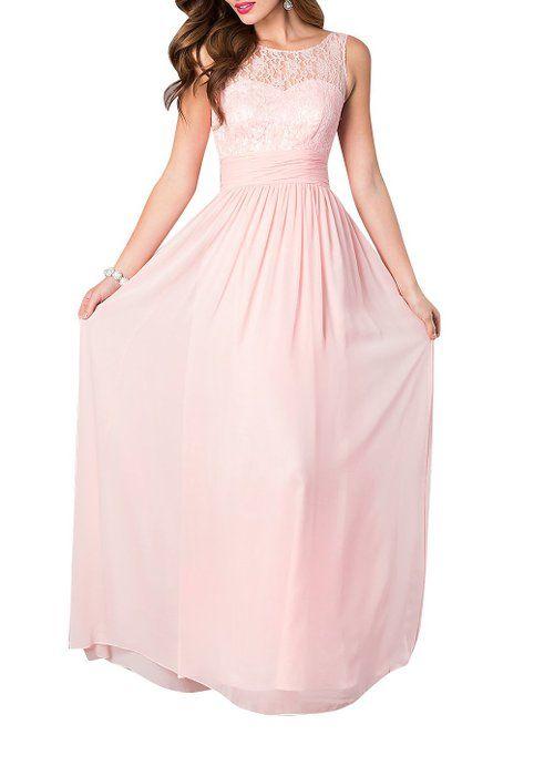 LOVEBEAUTY® Women's Long Sleeveless Chiffon Formal Prom Party Evening Dress Light Pink US 10