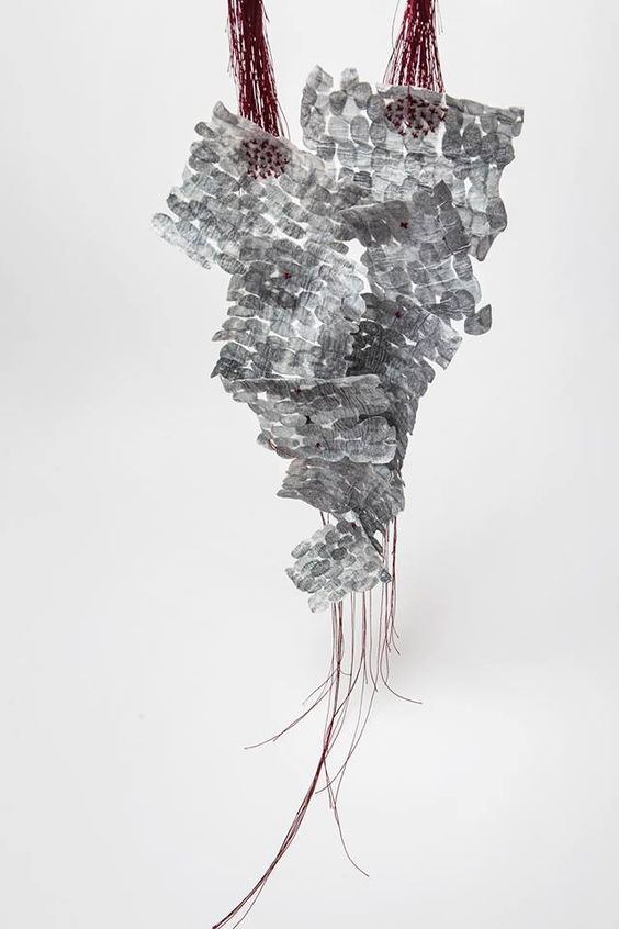 HIDDEN CURRICULUM - Antria Prasinou Ephemeral Body Neckpiece / Copper, rice paper, ink, silver, pigments, silk thread – avec Antria Prasinou.