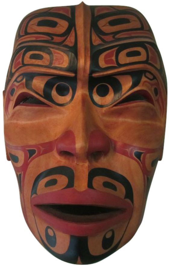 "Terry Starr (Tsimshian Nation, Canada, b. 1951), ""Spirit of the Tattooed Warrior"", alderwood and tempera Tsimshian mask, 1993"