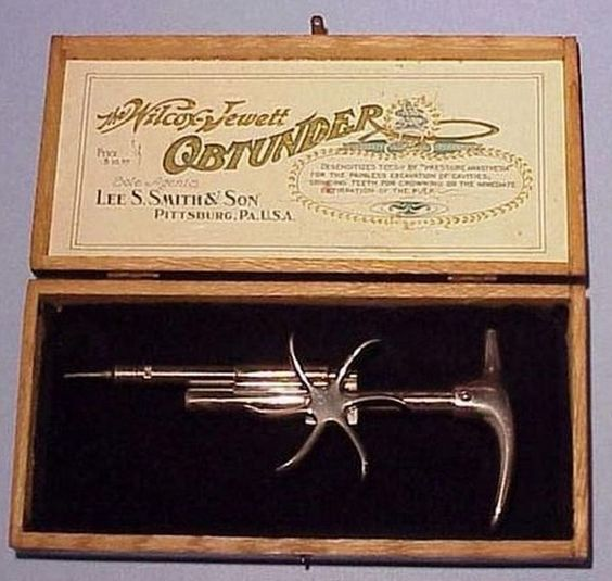 Wilcox-Jewett Obtunder (1905)  Don't like pain? No worries! This lovely syringe was used to inject cocaine i(the only anesthetic available) into your gums. Just a few minutes and the pain is gone! (Although we suspect this process was actually quite painful and could be used for torture.)