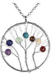 JOVIVI Crystal Quartz Tree of Life Pendant Necklace DIY - 7 Chakras Gemstone Charms