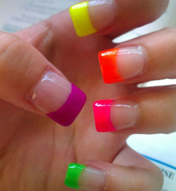 'Neon French' Nails ☻ … | Pinteres…