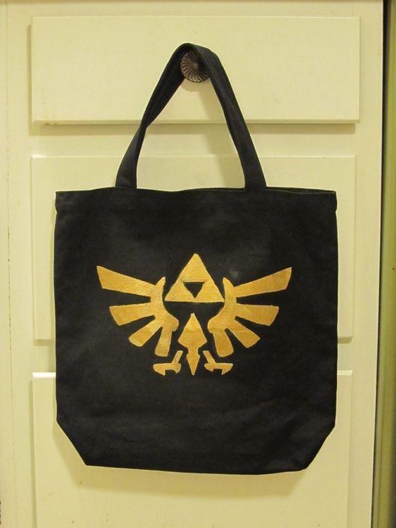 Legend of Zelda Tote  Hyrule Crest on Black Canvas by sneakycoon, $15.00