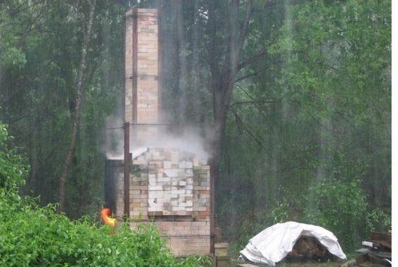 Debbie Mason's 24 cu. ft. Olsen Fast Fire wood-fired kiln, Greengate Pottery, MA  Firing in a hailstorm!