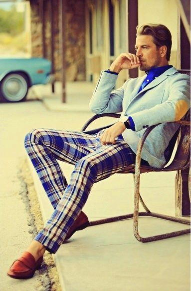 plaid trousers, chambray blue jacket, + royal blue shirt.
