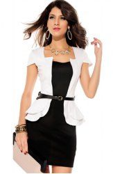 $14.82 Formal Faux Twinset Color Block Polyester Peplum Dress For Women