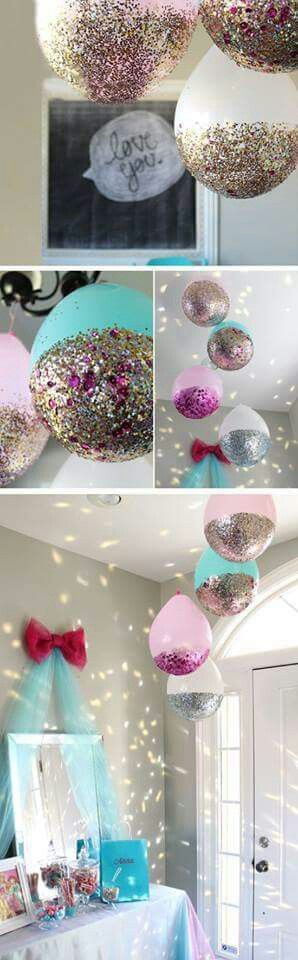 Globos y brillo.  Simple y a la vez hermoso
