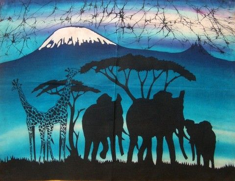 "africanartonline.com - Elephant Batik  A beautiful hand made African wax batik.  100% cotton  Beautiful framed or unframed.  Arusha, East Africa  ""21.5 × 29""  http://africanartonline.com/elephant-giraffe-african-wax-batik/"