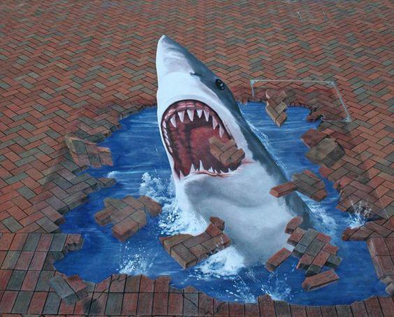 Whoa Ripster Throw Streex Into A Brick Wall Street Sharks - Awesome mechanical shark mural phlegm