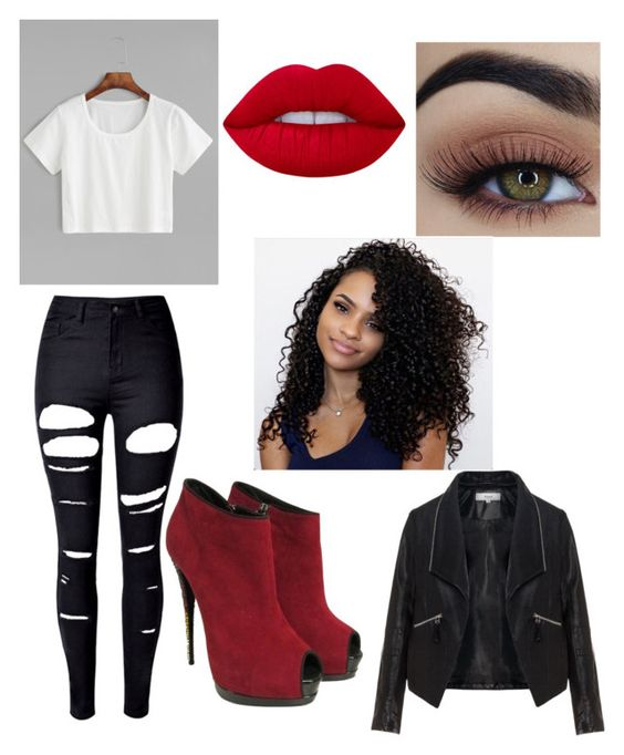 """""""School (Jailah)"""" by yomaris1003 ❤ liked on Polyvore featuring WithChic, Zizzi, Lime Crime and Giuseppe Zanotti"""